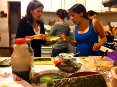 Consuelo and Sophie preparing plantains