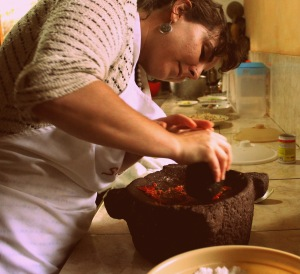 Kelsey working the mortar and pestle